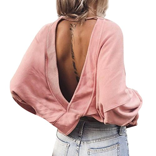 UFACE Damen Frauen Open Back Unregelmäßige Langarm Top Casual Backless Shirt Langarm Sweatshirt Pullover Tops Bluse(Rosa,EU/44CN/M)