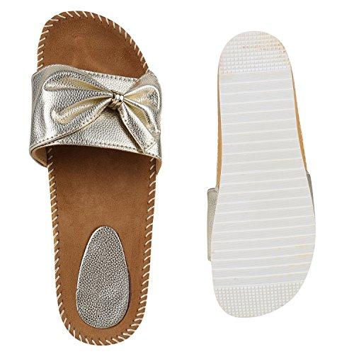 Damen Sandaletten Glitzer Nieten Pantoletten Schlappen Schuhe Gold Metallic