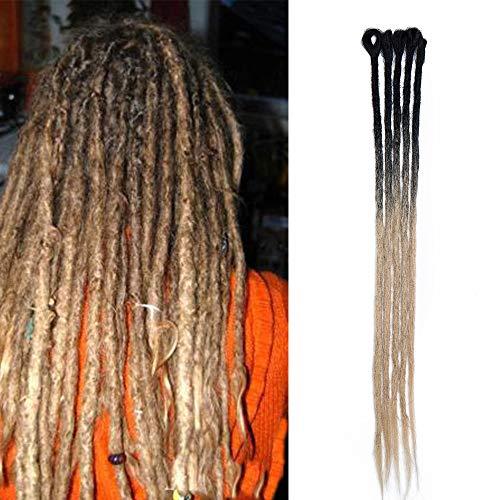 Sego dreadlock extension rasta [nero ombre biondo] 5 pezzi treccia dread da donna capelli lunghi sintetici double ended braiding hair fibre uncinetto 60cm 24