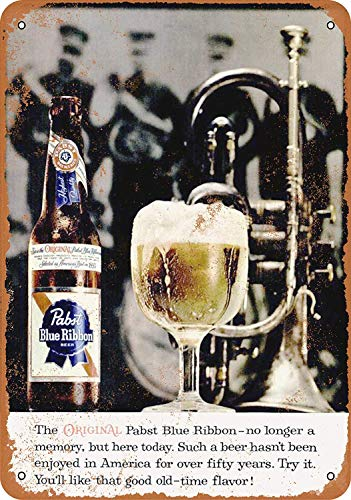 Pabst Blue Ribbon Beer Eisen Malerei Wandschilder Warnschild Metall Plaque Poster Kunst Dekoration für Bar Café Hotel Büro Schlafzimmer Garten