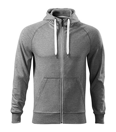 Sweat-Jacke Herren mit Kapuze Classic Men's Zip Hoooded Sweat Jacket Hoody mit Reißverschluss und Kontrastelementen grey-heather