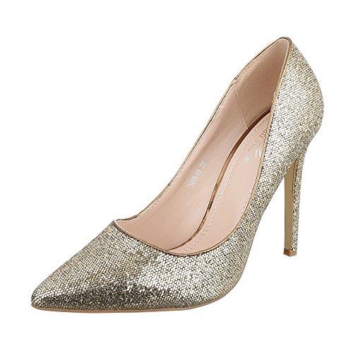 High Heel Damenschuhe Plateau Pfennig-/Stilettoabsatz High Heels Ital-Design Pumps Gold 5015-59