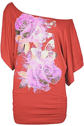 Frauen Floral Rosen Schmetterling Pailletten emailliert Profiratsche/Oversize Schulter Entdeckung Bardot Griff Fledermaus Shirt oben Korallenrot