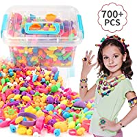 EXTSUD Pop Beads Set, Kids Pop Beads Jewellery Making Set, DIY Jewelry Kit for Necklace and Bracelet Girls Art Crafts Gift Toys (700 Pcs)