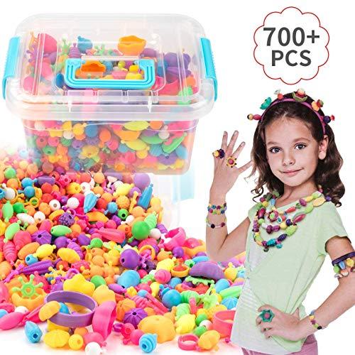 EXTSUD Kinder Pop Perlen Geschenkset Schmuckset 700 Stück drahtlose Perlen Schmuck Halskette Armband Ringe DIY Spielzeug Pädagogisches Spielzeug für Mädchen 3+ Geburtstag Kindertag Geschenk Set