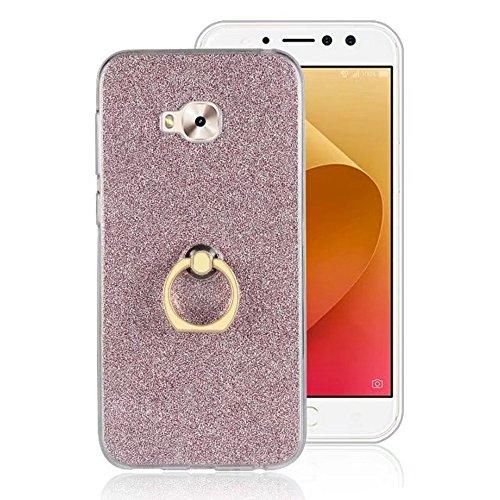 EKINHUI Case Cover Soft Flexible TPU Back Cover Case Shockproof Schutzhülle mit Bling Glitter Sparkles und Kickstand für Asus ZenFone 4 Selfie Pro ZD552 ( Color : Gold ) Pink