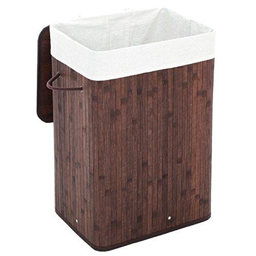 Songmics Wäschekorb Wäschebox Wäschekiste Wäschesammler mit Deckel aus Bambus Faltbar Wäschetonne mit herausnehmbarem Wäschesack 72 L (60 x 40 x 30 cm) LCB10Z
