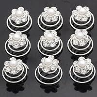 Miya® Forcine per capelli, 9 pezzi, bellissime, con perline di strass, per matrimonio o cresima