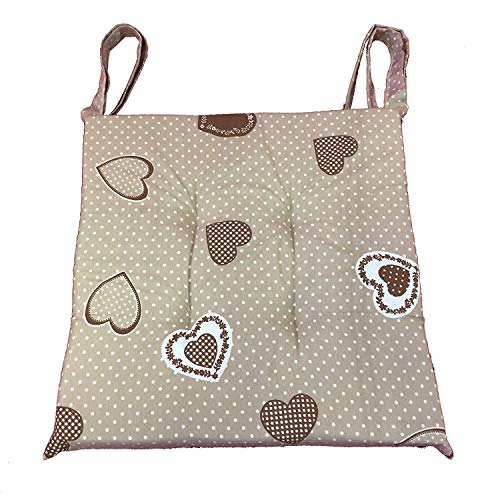 Set 6 cuscini shabby chic cuore marrone pois bianco,trapuntati al centro 40x40 spessore 5 cm, copri sedia cucina, euronovità