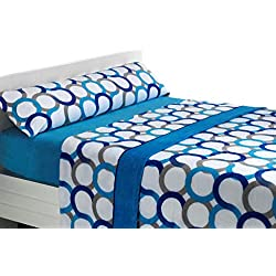 Juego de sábanas de coralina Aros - Azul, Cama 105
