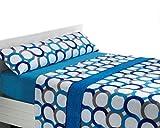 Juego de sábanas de coralina Aros - Azul, Cama 150