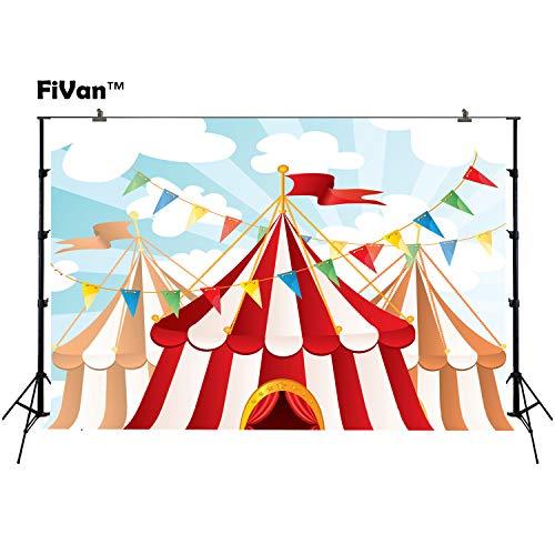 joypark Circus Zelt Foto Booth Hintergrund für Party Dekorationen Supplies Fotografie Rückseite Drop für Baby-Dusche Oder Geburtstag Bilder Vinyl Requisiten, XT4786, 7x5ft(220x150cm)