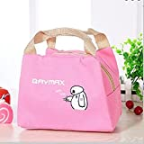 CONNECTWIDE Polyester Portable Insulated Printed Cartoon Animal Lunch Bag for Food/Picnic, 20x15x21cm (CW-1008, Pink)