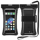 [Floating] RANVOO Wasserdichte Hülle Handyülle Tasche IPX8 Schwimmfähig Beutel Dry Bag Case mit Armband und Umhängeband für Smartphone bis 6,8 Zoll, z.B iPhone X / 8 / 8 plus / 7 / 7 plus / Samsung Galaxy S9 / S8 / S7 / S7 edge / Note 3, 4, 5, J3 / A3 2017 / A5 2017 / Huawei / Sony / LG G5,G6, u.s.w - Schwarz