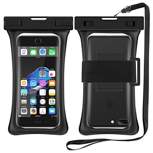 RANVOO Wasserdichte Hülle Handyülle IPX8 Schwimmfähig Beutel Dry Bag Case mit Armband und Umhängeband für Smartphone bis 6,8 Zoll, z.B iPhone X / 8 / Samsung Galaxy S9+ / S8 u.s.w - Schwarz