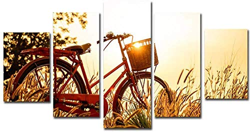 Samorou@ Sunrise Bike Löwenzahn Weizen Feld Landschaft 5 Aufeinanderfolgende HD Leinwand Gemälde Wohnzimmer Küche Dekoration Bild DIY Wandbild (Holzrahmen)