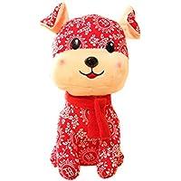 2018 Year Of The Dog Mascot Flower Cloth Dog Peluche Muñeca de juguete, B1 - Peluches y Puzzles precios baratos