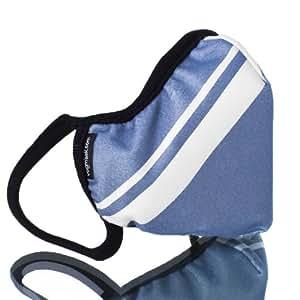 Vogmask Bleu Gris Rayé Microfibre Masque de Filtrage: pour la poussière, les microbes, fumée, des cendres, le pollen, la pollution, le vélo, le travail du bois, ou de l'anonymat
