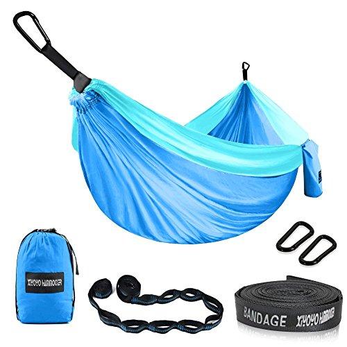 Xiyoyo Double Camping Hamac (2 Personnes) -Multifunctional légère en Nylon Parachute Hamac pour randonnée, Voyage, 299,4 Kilogram (299,7 x 190,5 cm) -with mousquetons Hamac Sangles 118x79 inch Bleu