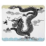 Yanteng Gaming Mouse Pad Drache, lustiger traditioneller chinesischer Drache in Meereswellen mit Heiliger Kalligraphie ethnischer Druck dekorativ, Mehrfarbig genähte Kante