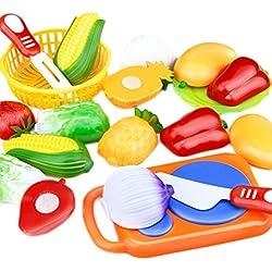 Nikgic de Juguetes Cortar Juguete Frutas y Verduras de Plástico para Niños Juguetes de la Cocina Playset Eeducativos Set