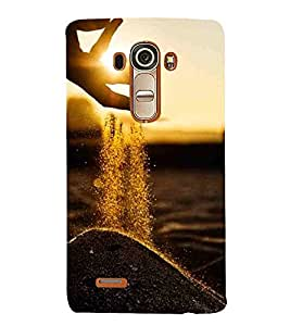 For LG G4 :: LG G4 Dual LTE :: LG G4 H818P H818N :: LG G4 H815 H815TR H815T H815P H812 H810 H811 LS991 VS986 US991 beautiful sunset, sunset, hand, soil Designer Printed High Quality Smooth Matte Protective Mobile Case Back Pouch Cover by APEX