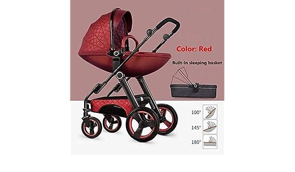 Couleur : Red PLDDY landaus Poussettes mode bi-directionnelles Poussettes b/éb/é 2 en 1 Poussettes nouveau-n/és