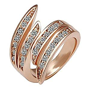 18K Rose Gold Plated, Pave Set, 26 Clear Round Cut Swarovski Crystal Elements, Angel Wing Fashion Band Ring - 6
