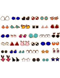 KOOCHI KOO Multicolour Metal 36 Pair Stylish Earring Stud Combo Set with Heart Shape Box for Women