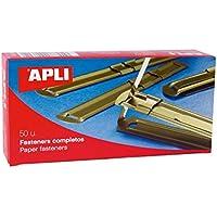 APLI 11831 - Fásteners metálicos completos color dorado, 50 unidades