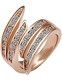 18K Rose Gold Plated, Pave Set, 26 Clear Round Cut Swarovski Crystal Elements, Angel Wing Fashion Band Ring