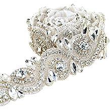 Oro / Sliver Rhinestone tejido recorte largo cinturón de cristal para los vestidos de boda (