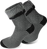3 Paar Sehr warme POLAR HUSKY® Socken mit Vollplüsch und Schafwolle / Nie wieder kalte Füße! Farbe Extrem/Hot/Grau/Schwarz Größe 43/46