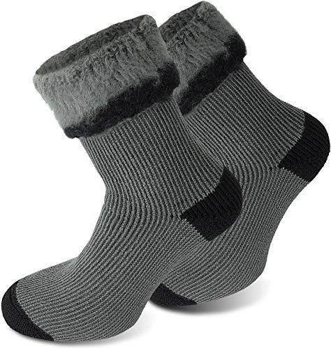 3 Paar Thermostrümpfe/Thermosocken - mit Vollplüsch und Schafswolle, Extra Warm und Perfekt für Stiefel geeignet Farbe Extrem/Hot/Grau/Schwarz Größe 43/46