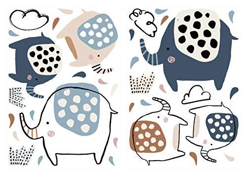 dekodino® Pegatina de pared elefantes coloridos con puntas juego de adhesivos