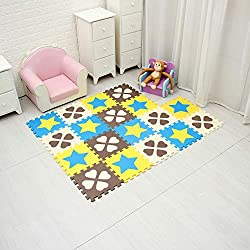 Alfombra Puzzle para Niños. Goma EVA Suave. 18 Piezas (30 x 30 cm), Flor de Cuatro Hojas & Pentagrama. QQP-27(6&9) b18N
