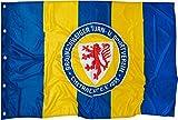 Hissflagge Eintracht Braunschweig Streifen - 97 x 140 cm + gratis Aufkleber, Flaggenfritze®