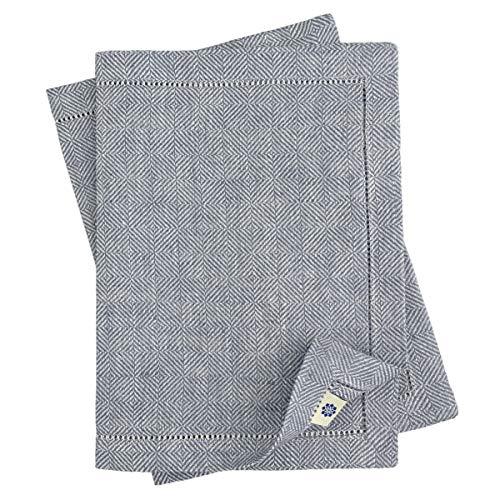 Linen & Cotton Luxus Tischsets/Platzsets mit Hohlsaum Scandi, 100% Leinen - 30 x 44cm (2 Stück), Grau/Silber (Servietten Graue Und Weiße)