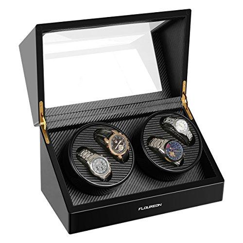 Uhrenbeweger für 4 Uhren Watch Winder Uhrenvitrine Rectangle Mute Automatische Uhrenbox Laufleise • Sichtfenster • elegantes Design • schwarze Samtkissen • Uhrenbeweger für Automatikuhren von FLOUREON