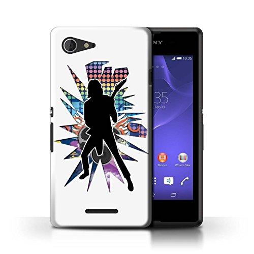 Kobalt® Imprimé Etui / Coque pour Sony Xperia E3 / Hendrix Blanc conception / Série Rock Star Pose Solo Blanc