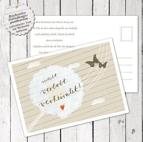 50 Hochzeitseinladungen inkl. Druckservice - verliebt verlobt verheiratet - mit individuellem Text auf der Rückseite Hochzeitskarten Einladungskarten Recyclingpapier