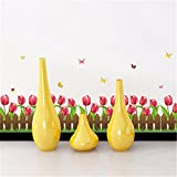 GOUZI Fries Sockelleisten kabel Gartenzaun dekorative Tulip, 50 * 70 cm Abnehmbare Wall Sticker für Schlafzimmer Wohnzimmer Hintergrund Wand Bad Studie Friseur
