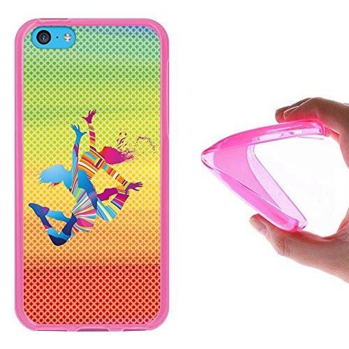 iPhone 5C Hülle, WoowCase Handyhülle Silikon für [ iPhone 5C ] Fußball, der den Wand bricht Handytasche Handy Cover Case Schutzhülle Flexible TPU - Schwarz Housse Gel iPhone 5C Rosa D0503