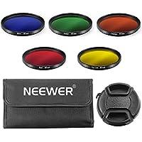 Neewer 67mm 5 Filtros Completo Todo Color lentes Juego para Cámara Canon y Nikon DSLR con Rosca de 67mm, Incluye: Filtro Azul, Verde, Naranja, Rojo y Amarillo, Bolsa de Transporte, Tapa de Lente