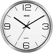 Reloj de pared HENSE, moderno y elegante, mecanismo silencioso, redondo y de metal