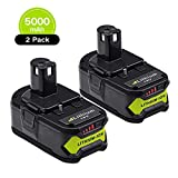 2X 18V 5000mAh Lithium Batterie de remplacement pour Ryobi One+ P108 RB18L50 RB18L40 RB18L25 RB18L15 RB18L13 P108 P107 P122 P104 P105 P102 P103