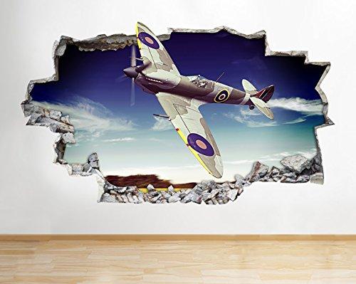 Wand-hurricane (tekkdesigns z088Spitfire Hurricane Flugzeug Army Jungen Wand Aufkleber 3D Poster Kunst Aufkleber Kinder Schlafzimmer Kinderzimmer Baby Cool Wohnzimmer Hall Jungen Mädchen (Medium (52x 30cm)))