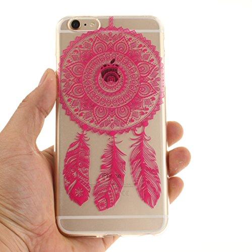 Felfy Coque pour iPhone 6S Plus,iPhone 6 Plus Case,iPhone 6 Plus Ultra Slim TPU Case Housse Silicone Souple Etui Gel Fine Couverture Arrière Anti Poussières Couvercle Anti Rayures Motif Transparent Ca Rose Rouge Campanula