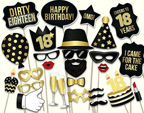 Veewon 18ème anniversaire Accessoires de cabine photo Kit de bricolage 34pcs adapté à sa fête de l'honneur 18ème anniversaire