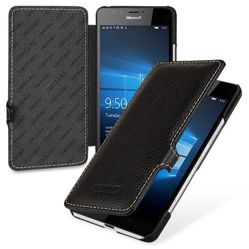 TetDed® Handarbeit Echtes Cowhide Leder UltraSlim 'Wallet' Case, Hülle für Microsoft Lumia 950, Schwarz - Leder Gestickte Brieftasche